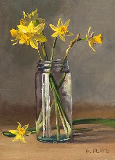 Tete-e-Tete Daffodils {a small floral painting} — Elizabeth Floyd Painting Still Life, Still Life Art, Paintings I Love, Flowers In Jars, Flower Vases, Flower Art, Art Floral, Watercolor Flowers, Watercolor Paintings