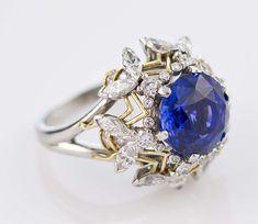 unusual tiffany jewels   TIFFANY SCHLUMBERGER 6 Bee Diamond Sapphire Gold Platinum Ring image 3