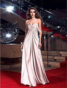 θήκη / στήλη off-the-ώμο πάτωμα-μήκους ελαστικό σατέν φόρεμα... – EUR € 148.49