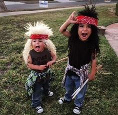 My sons easy DIY 80s rocker  Halloween costumes  ! Just cut sleeves off some shirts, bought some wigs and tied a bandana around their heads