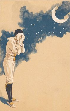 Pierrot Clown & Moon , 1890s 3/3 - bidStart (item 19641589 in Postcards, Topics (Themes)... Circus)