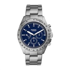 Fossil Uhr Herren silber blaues ZIffernblatt CH3034 https://www.thejewellershop.com/ #fossil #herrenuhr #blau #silber #chronograph #watch #uhr #men #jewelry #schmuck #uhren #steel #menstyle #herrenschmuck