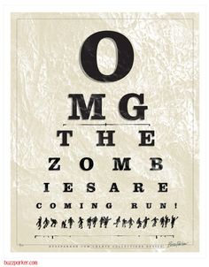 Zombie Eye Chart, Collections Series Limited Edition Art Print...creepy