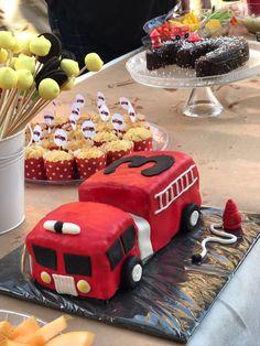 Fire truck cake 3rd birthday