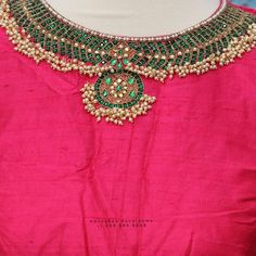 Kids Blouse Designs, Saree Blouse Neck Designs, Bridal Blouse Designs, Cut Work Blouse, Hand Work Blouse Design, Hand Embroidery Design Patterns, Aari Embroidery, Pink Saree Blouse, Maggam Work Designs