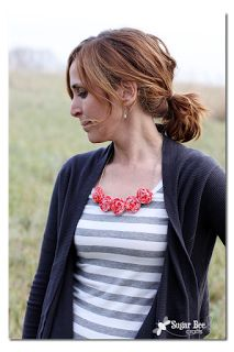 Make a necklace out of rolled fabric scraps. May glue or sew. Beginner level. Could use beads, chain, or cording for the necklace part.