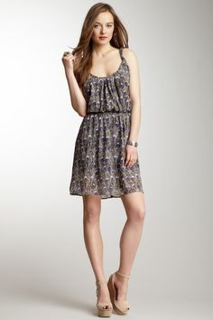 Sleeveless Twist Strap Printed Dress