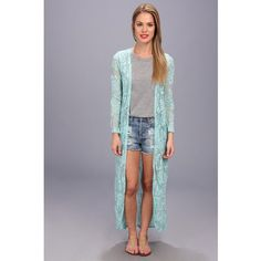 Brigitte Bailey Beverly Maxi Cardigan (Light Aqua) Women's Sweater ($23) ❤ liked on Polyvore featuring tops, cardigans, blue, aqua top, lacy tops, maxi length cardigan, long sleeve cardigan and lacy cardigan