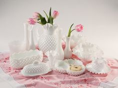 Vancouver Vintage - Fenton Milk Glass collection - Any flower looks elegant and simple in a gorgeous Vintage Milk Glass Vase.