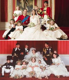 Kate and William pose for a portrait with their bridesmaids and groomsmen