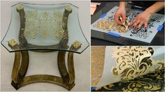 How to Stencil Tutorial: Verre Eglomise Gilding on Glass Furniture