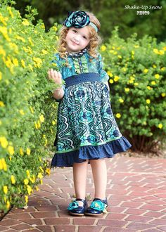 Girls Fall Dress - Blue and Green Twirl Dress - Sizes 12MO-10 on Etsy, $48.00