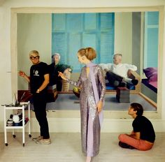 David Hockney with model Maudie James and photographer Peter Schlesinger in an image from the National Portrait Gallery's forthcoming 'Vogue 100: A Century of Style' exhibition