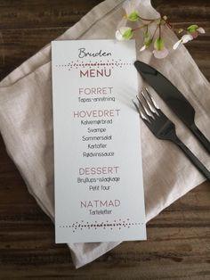 Bryllups menu- og bordkort i een fra ElliBeli