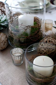 centrepieces.... maybe scatter some flower petals around the outside of the glass on the tables.