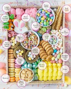 How to Make an Easter Candy and Sweets Board. The steps to making the cutest and most colorful candy charcuterie board for Easter! Charcuterie Recipes, Charcuterie And Cheese Board, Cheese Boards, Holiday Treats, Holiday Fun, Holiday Recipes, Easter Dinner, Easter Party, Easter Lunch