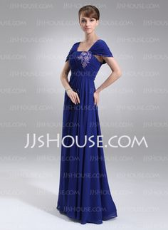 A-Line/Princess Off-the-Shoulder Floor-Length Chiffon Mother of the Bride Dress With Ruffle (008006008) - JJsHouse