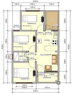plano de casa tres dormitorios un piso #cocinaspequeñasrusticas #casasrusticasdeunpiso