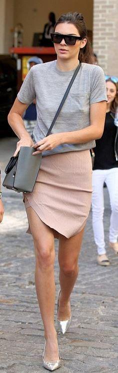 Kendall Jenner: Sunglasses – Saint Laurent  Purse – Celine  shoes – Tom Ford  Skirt – Jonathan Simkhai