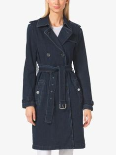 A timeless outerwear design is reinvented in dark-wash denim. Tailored epaulets lend our reinvention of the trench coat a utilitarian feel, while a slim belt cinches the waist for a feminine effect. Taking you from workweek to weekend, pair yours with everything from dresses to skinny jeans.