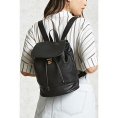 Forever21 Faux Leather Backpack ($21) ❤ liked on Polyvore featuring bags, backpacks, black, forever 21 bags, fake leather backpack, forever 21 backpacks, drawstring backpack bag and vegan bags