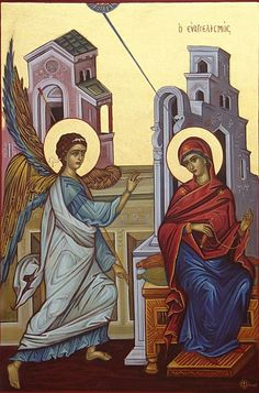 Annunciation Ευαγγελισμός by Marie Lavie Religious Images, Religious Icons, Religious Art, Byzantine Icons, Byzantine Art, Famous Freemasons, Greek Icons, Russian Icons, Biblical Art