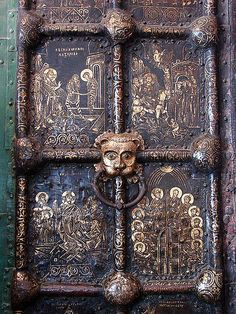 Russian Golden Doors, Cathedral of the Nativity, Suzdal, Russia.  Numerous religious scenes carved into brass on huge doors of the Cathedral in Russia.  So much detail and each scene is framed. Image: WikiMedia.org MAISON de BALLARD: When One Door Closes... Beautiful Doors From Around the World
