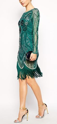gorgeous green beaded swing dress