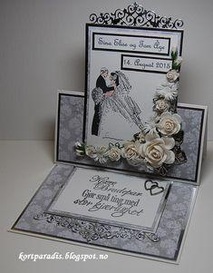Bryllupskort Bryllup scrapping Handmade Kortparadis Easelcard staffelikort Korthobby NSD NorthStarDesign Papirdesign wedding weddingcard