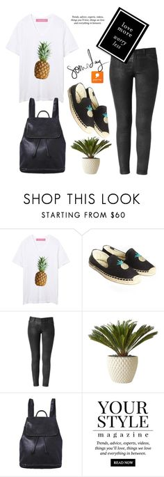 """Pineapples by Popmap 41"" by deeyanago ❤ liked on Polyvore featuring Soludos, Architectural Pottery, Monday, Pussycat, women's clothing, women, female, woman, misses and juniors"