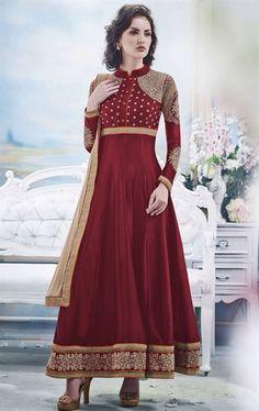 Picture of Plushy Dark Red Wine Salwar Kameez for Wedding