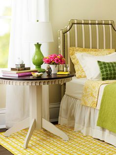 pretty nightstand and green lamp