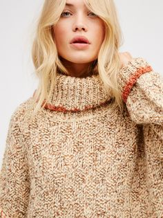 Camilla Christensen || FP Echo Irresistibly Cozy Oversized Chunky Knit Turtleneck Pullover (Cream Combo)