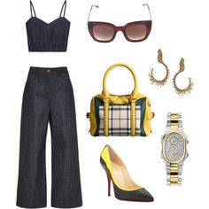 Denim by dominosfalldown on Polyvore featuring Marni, Apiece Apart, Christian Louboutin, Burberry, Philip Stein, Lanvin and Thierry Lasry