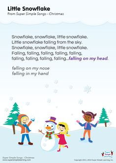 "Lyrics poster for the ""Little Snowflake"" song from Super Simple Learning…"
