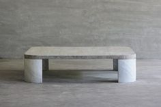 Reclaimed Elm and Stone Square Coffee Table - Mecox Gardens