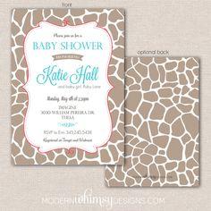 Giraffe print baby shower invitation by ModernWhimsyDesign on Etsy, $16.00
