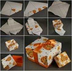 DIY paper origami gift box.