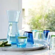 Iittala Kartio range in many colourways , fresh and practical everyday glassware.