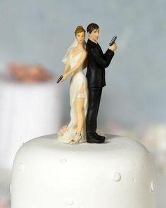 Sexy Spy Gun Bride Groom Funny Cute Wedding Cake Topper.... SOOOO DOUG AND I!!!! HAHA!!!