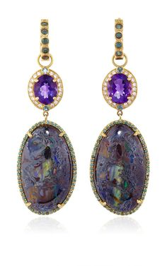 One of a Kind Amethyst and Opal Drop Earrings and Color Change Garnet Huggies by Erica Courtney