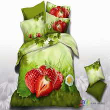 red strawberry green bedding sets