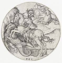 Martin Schongauer - Saint George and the Dragon. 1470-1490