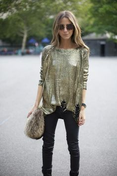casacos femininos, Sweater Metalizado com Calça de Couro