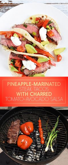 Pineapple-Marinated Steak Tacos with Charred Tomato-Avocado Salsa