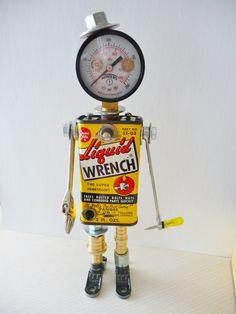 Joe Wrench Bot Found Object Assemblage Robot by JoySunRobots