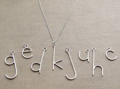 Custom Initial Letter Necklace on Sterling Chain