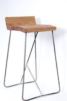 Bar Eckig Hocker aus Metall und Holz. von AntoineGdesign auf Etsy