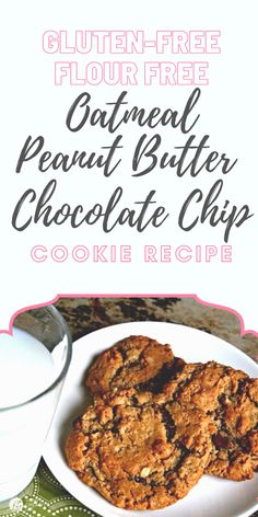 Gluten-free, flour free, oatmeal chocolate chip peanut butter cookie recipe. All the flavor and none of the bad stuff! Print the recipe on TodaysCreativeLife.com Gluten Free Cookie Recipes, Oatmeal Cookie Recipes, Peanut Butter Cookie Recipe, Peanut Butter Recipes, Best Cookie Recipes, Gluten Free Cookies, Quick Healthy Desserts, Healthy Cookies, Cupcakes