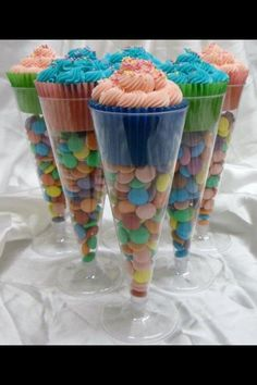 A different kind of Cupcake holder for a birthday party or baby shower - fill with mints or m's to match color theme!! (thanks lindsey - I loved this idea)!!
